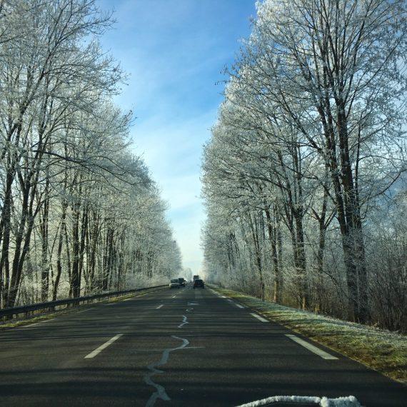 Sur la route par grand froid